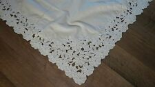 "Antique Bedspread Floral Embroidery Cutwork Beige Cotton Tablecloth 68"" x 108"""