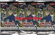 YUGIOH  3 X INVASION OF CHAOS BOOSTER PACKS LEGENDARY COLLECTION LC01 NEW