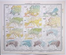 1899 LARGE WEATHER METEOROLOGY MAP ISOTHERMS & ISOBARS EUROPEANNUAL HOT PERIOD