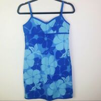 Roxy Quicksilver Size Medium Blue Hawaiian Floral Sun Dress