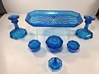 Vintage, 7-Piece Capri Blue Glass Vanity / Dresser Set w/ Tray