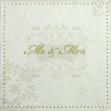 4 Single Lunch Table Party Paper Napkins for Wedding Craft Mr & Mrs Embossed