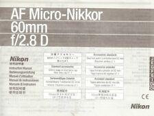 Instruction User's Manual Nikon AF Micro-Nikkor 60mm f/2.8 D Multilingual
