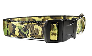 Army Green camouflage Adjustable Handmade Dog Collar Boy Medium Large