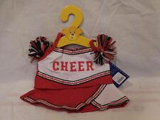 Build a Bear Red White Cheerleader Outfit with Pom Poms NEW