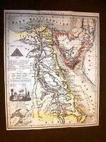 Carta geografica, cartina, mappa del 1869 Egitto e Istmo di Suez, Alessandria