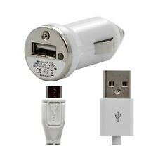 Chargeur voiture allume cigare USB + Cable data blanc pour Samsung : GT-i5800