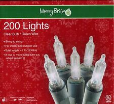 Christmas Light Set 200 Lights Clear Bulb Green Wire S2S In/Out 41ft Merry Brite