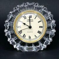 Vintage Crystal Legends Mantel Quartz Clock Desk 24% Lead Godinger Home Decor