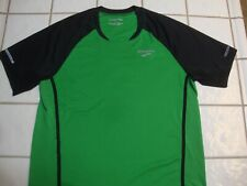 Brooks Equilibrium Running Shirt Green Reflective Poly Pocket Mens Medium