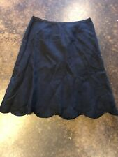 Rochas Black  Embroidered Dragonfly Linen Blend skirt 40 4