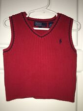 Polo Ralph Lauren size 2T Red Sweater Vest Toddler HolidayChristmas v neck boys