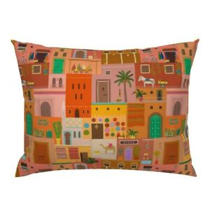 Marrakech Buildings Moroccan City Colorful Homes Pillow Sham by Roostery