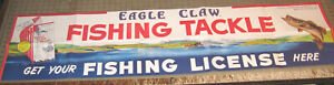"""Vintage (1970s?) EAGLE CLAW FISHING TACKLE 54.5"""" x 13.5"""" Retail Poster - Banner"""