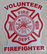 WHITE/RED Reflective Vinyl Decal Fire Dept Volunteer maltese cross firefighter