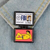 The Simpsons Pin X-Files FBI Fox Mulder ID Card Brooches Enamel Pins Lapel Pins