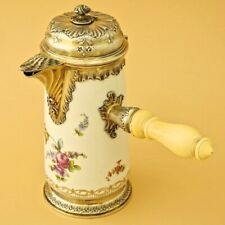 Antique French Sterling Silver & Porcelain Hot Chocolate Pot Sèvres Chocolatier