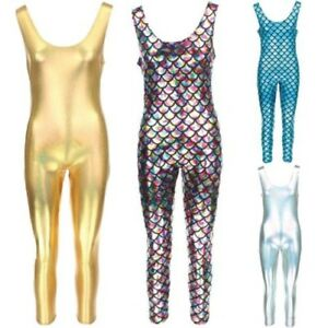 Sleeveless Catsuit Bodysuit Jumpsuit Romper Trousers GOLD SILVER Mermaid Scales