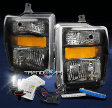 2008-2010 FORD F250 F350 SUPER DUTY HEADLIGHT LAMP BLACK W/BLUE DRL LED+HID KIT