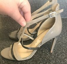M&S Autograph UK 4.5 Mink Grey Patent Leather & Suede Sandals Strappy Heel Shoes
