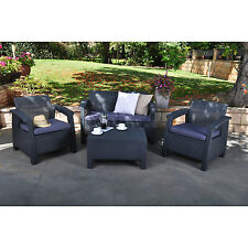 Dark Grey Resin Wicker Patio Conversation Seating Set Outdoor Home Furniture
