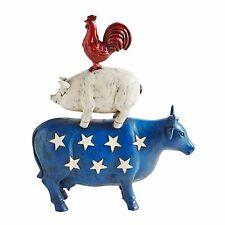 PIER1 PATRIOTIC AMERICANA RED WHITE BLUE FARM ANIMAL COW PIG ROOSTER DECOR BNWT