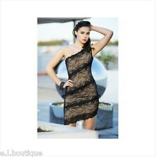 VICKY MARTIN black nude lace fitted one shoulder mini dress 8 10 BNWT wedding