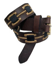"""Oran"" 100% Argentine Cow Embroidered Leather Polo Belt - Brown"
