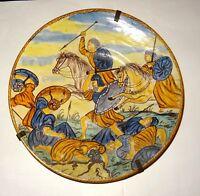 GRAND PLAT MAJOLIQUE EN CERAMIQUE  - DATED 1532 - CERAMIC DISH WAR SCENE