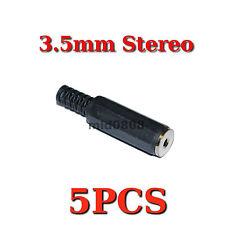 "5pcs 3.5mm 1/8"" Stereo Female Plug Jack Adapter Connector solder Plastic AC001F"