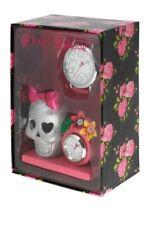Betsey Johnson BJ00203-03 Skull Silver Glitter Clock & Large Face Pink Watch $69