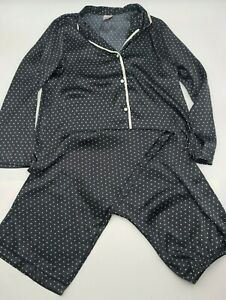 Gilligan & O'Malley Women's 2 Piece Pj Pajamas Set Black with White Dots Size L
