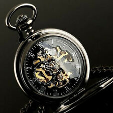 Vintage Mens Pocket Watches Mechanical Skeleton Steampunk Watch Black Gift