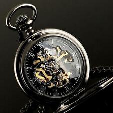 Vintage Mens Pocket Watches Mechanical Skeleton Steampunk Watch Black Gift