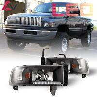 94-02 For Dodge RAM 1500 2500 3500 Clear Lens DRL LED Tube Headlights Pair