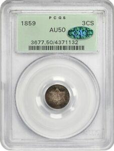 1859 3cS PCGS/CAC AU50 (OGH)