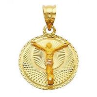 Diamond Cut Jesus Cross Religious Charm 20MM Solid 14K Yellow Gold Round Pendant