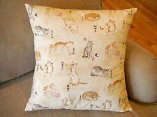 "Japanese Cat Print Throw Pillow 16"" Square"
