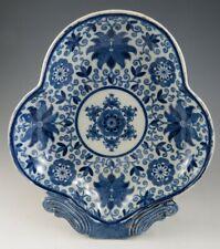 Antique Pottery Pearlware Blue Transfer Tendrill Pattern Dessert Dish 1810