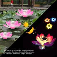 Floating Solar Powered LED Lotus Flower Light Pond Pool Garden Landscape Lamp Z