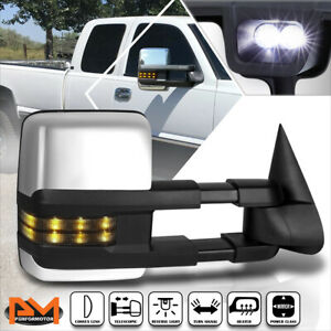 For 99-02 Silverado/Sierra Power+Heat Chrome Towing Mirror+Smoked LED Lamp Right