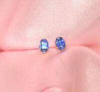 BEAUTIFUL BLUE OVAL KYANITE STERLING EARRINGS 6mmX4mm-  app. 1ctw.