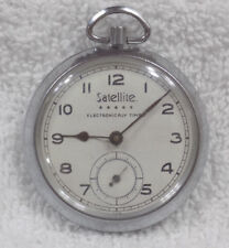 Satellite Silver Tone Wind-up Electronicaly Timed Pocket Watch - PARTS/REPAIR