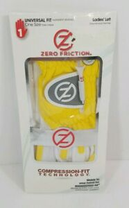Zero Friction Performance Glove Womens Yellow and White Universal Fit ONE SZ