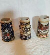 Anheuser Busch Budweiser Steins Set of 3 Clydesdales Horses Beer Mugs Ceramic
