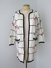 Vtg 60s 70s Rwb Acrylic Long Sweater Open Front Coat Red Hearts Pockets L