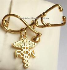 Gold Nurse RN Caduceus Pin Brooch Plated Stethoscope Nursing Graduation Gift