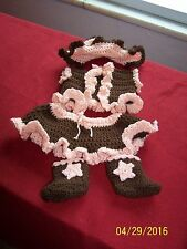Crocheted  Cowgirl Outfit Photo prop Peach and Brown
