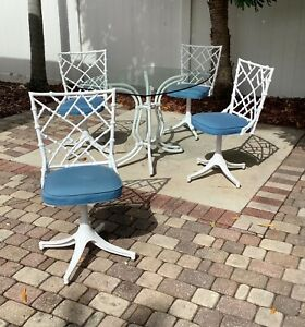 Mid Century 1960's  Phyllis Morris Faux Bamboo 5 pc outdoor dining set