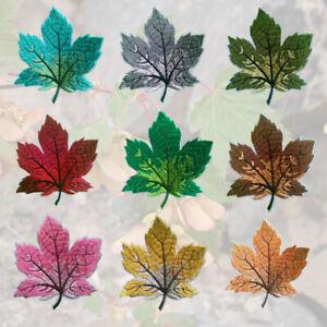 1 or 9 pcs Maple Leaf Autumn Fall Embroidered Cloth Iron On Patch Applique #1488